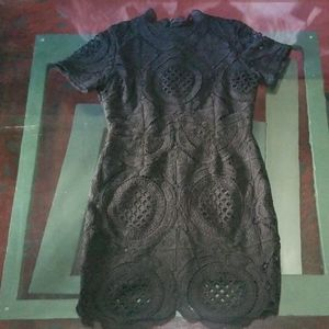 High necked black lace dress